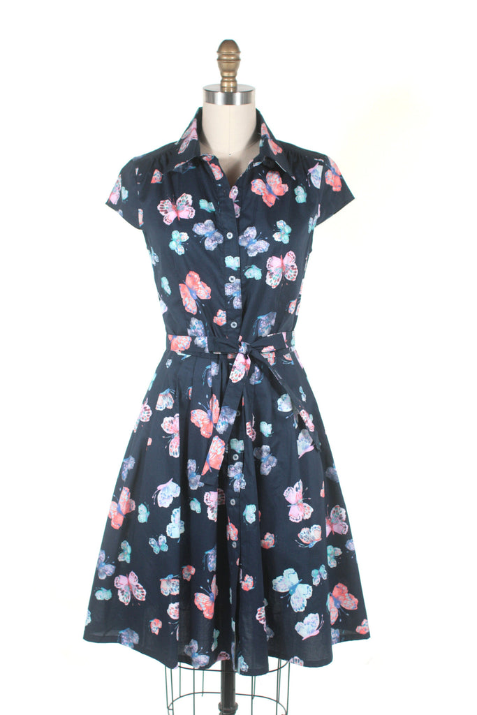 Butterfly Shirtdress in Navy