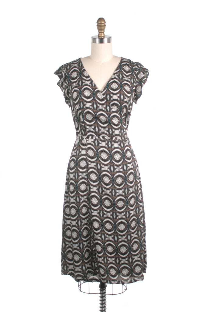 Jessica Wrap Dress in Black Multi