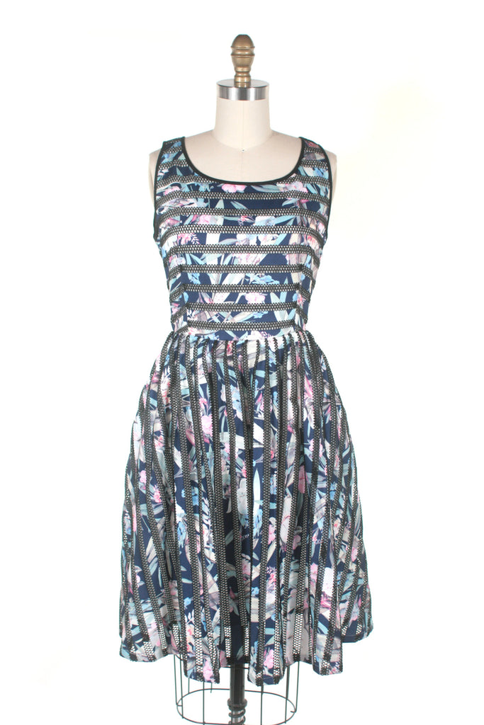 frock shop sheer stripe flower dress navy frockshop