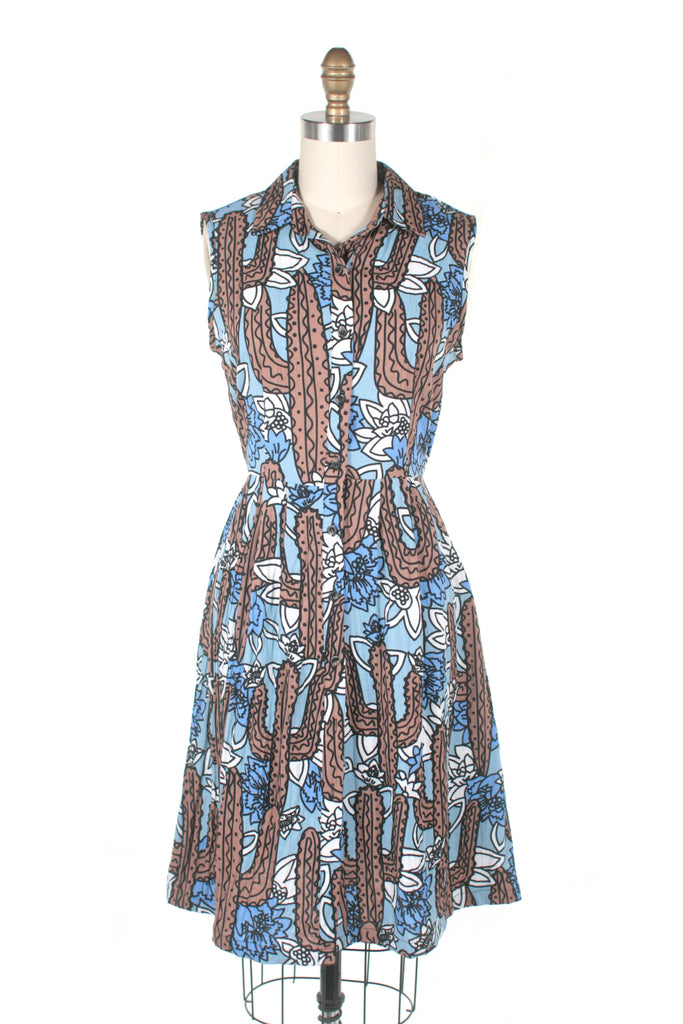 Cactus Shirtdress in Blue Multi
