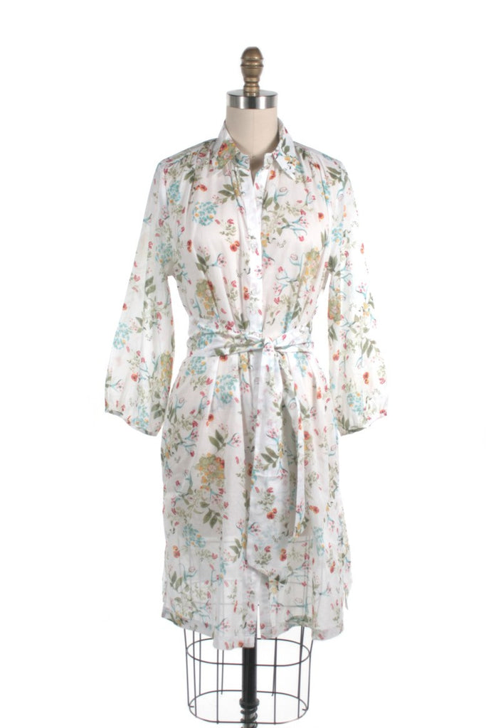 Floral Shirtdress in White