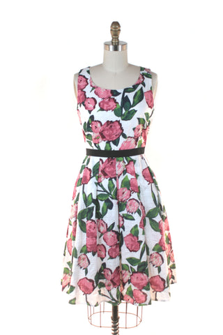 Watercolor Rose Dress in White