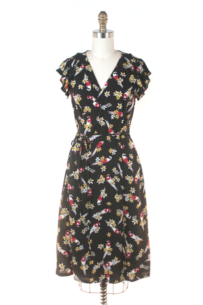 Parrot Wrap Dress in Black
