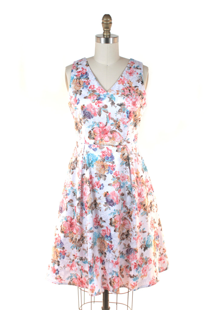 V-Neck Floral Dress in White Multi - last size S!