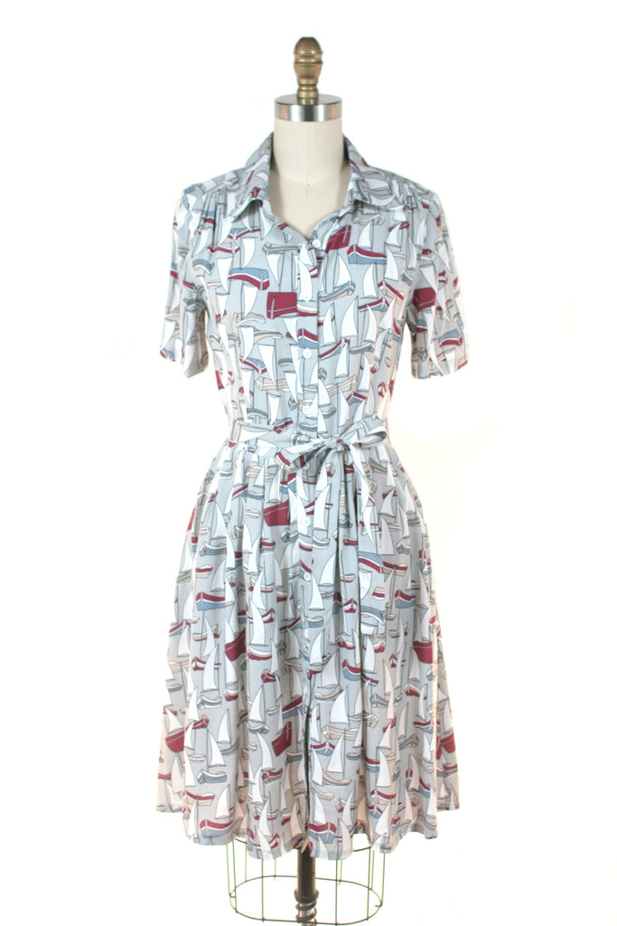 frock shop sailboat shirtdress taupe dress frockshop