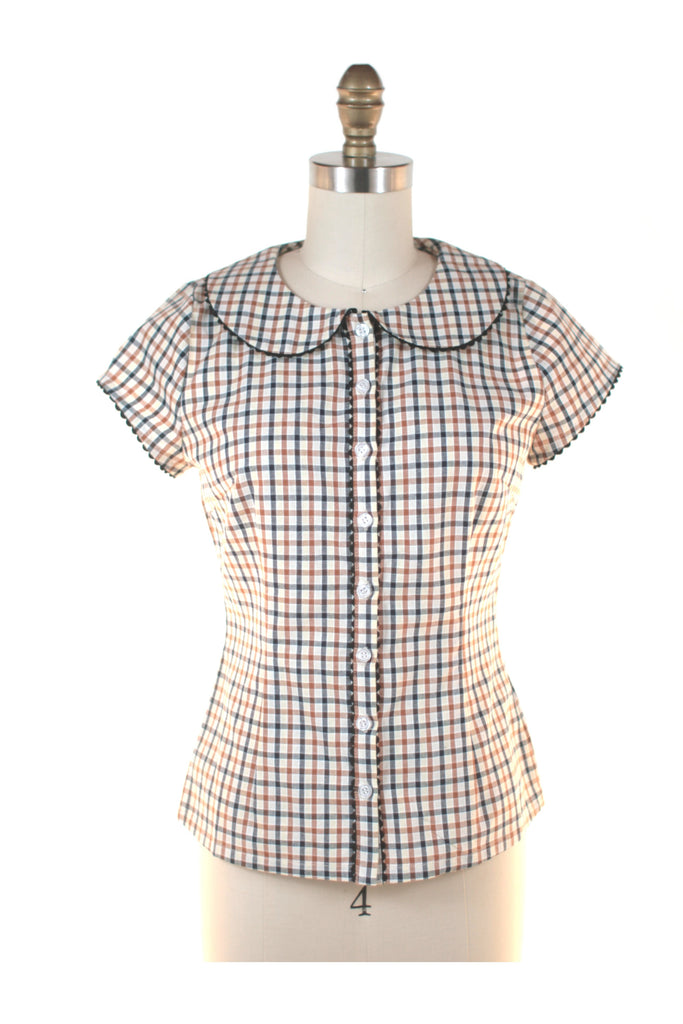 frock shop gingham check blouse top brown frockshop
