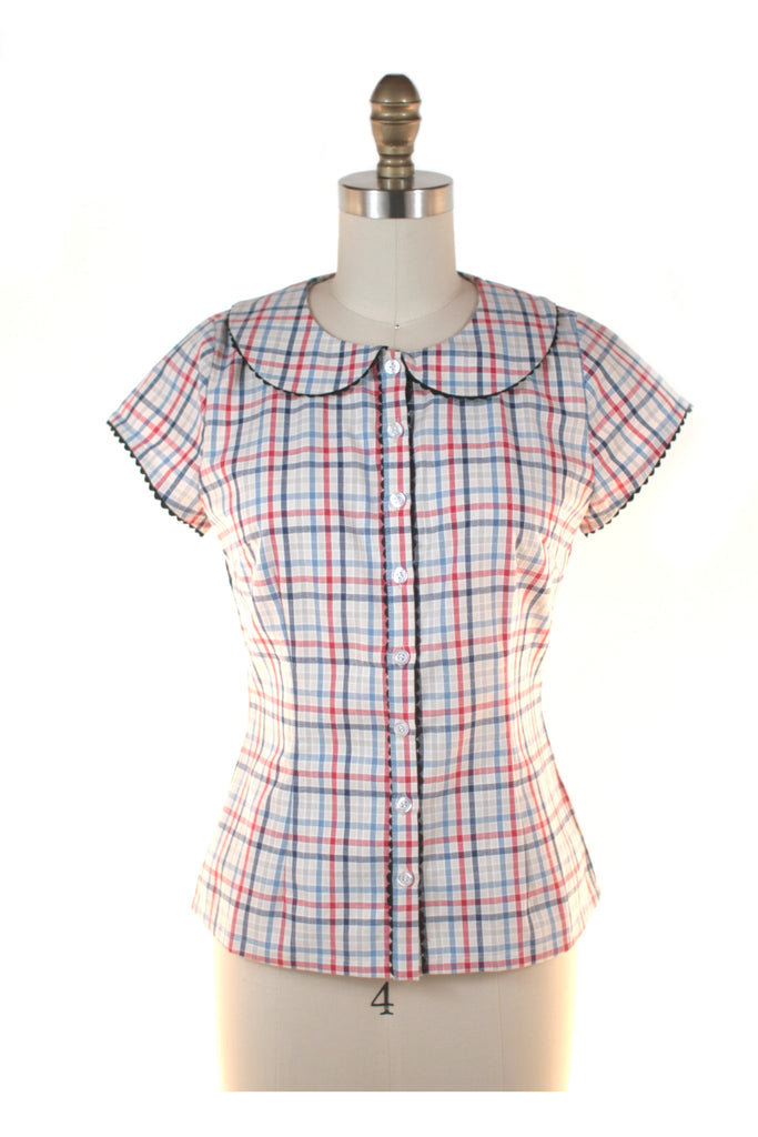 frock shop gingham check blouse top red frockshop