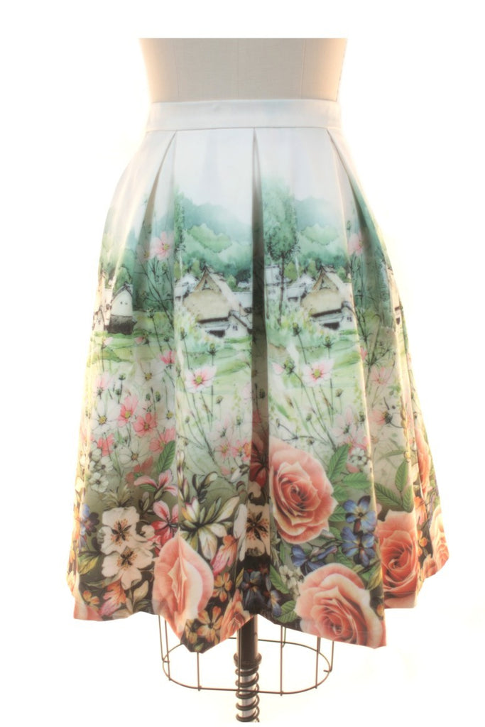 frock shop landscape print rose pleat skirt frockshop