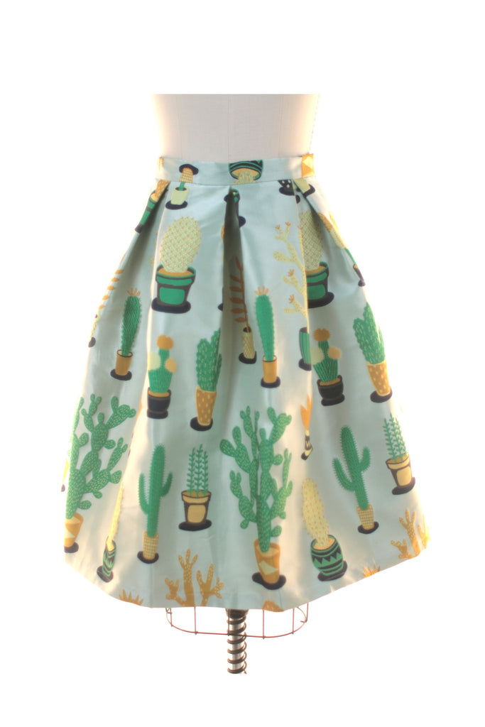 Cactus Pleated Skirt in Light Green