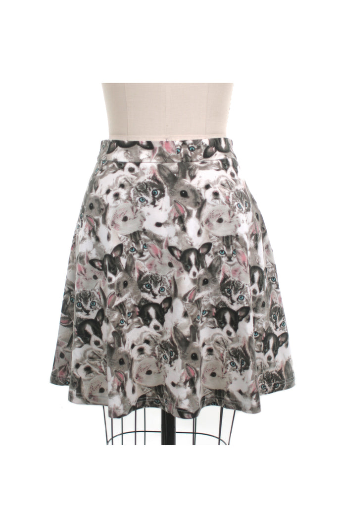 Kitten, Puppy, Bunny Mini Skirt in Grey + plus size