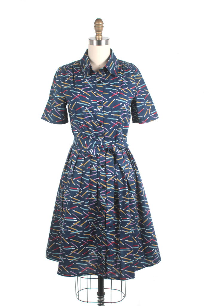 Pencil Shirtdress in Navy