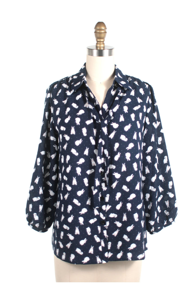 Bunny Dot Blouse in Navy