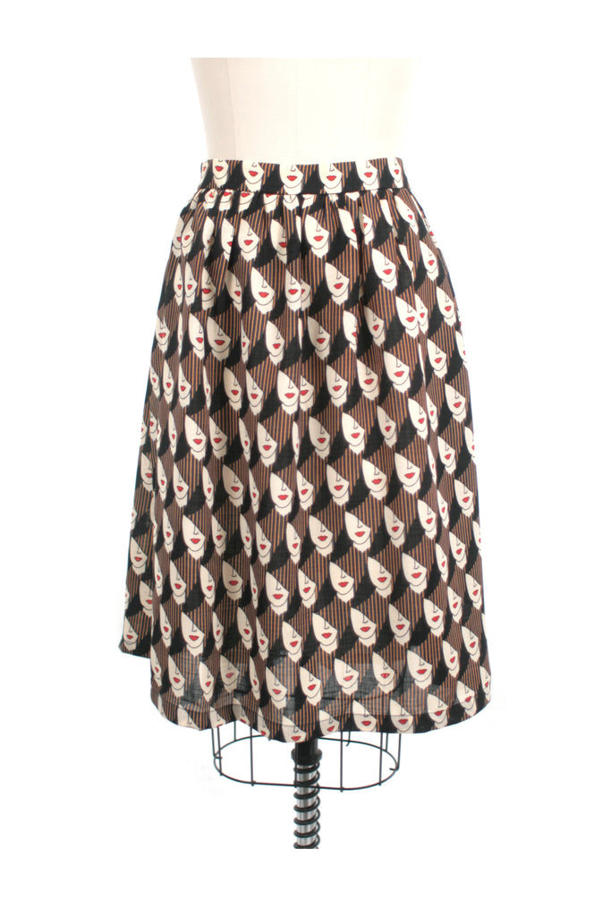 frock shop faces print skirt frockshop