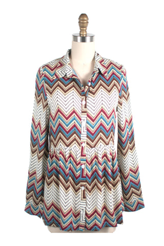 Chevron Tunic Blouse in Multi