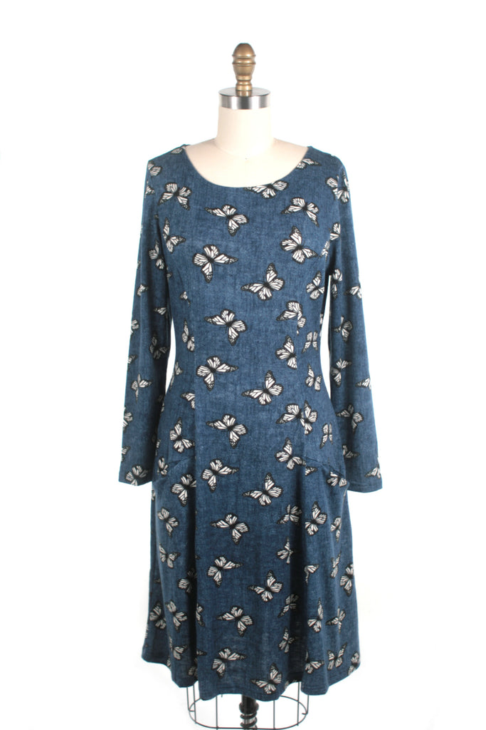 Butterfly Sweater Knit Dress in Blue