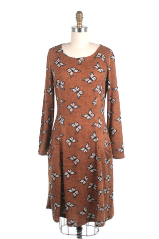 Butterfly Sweater Knit Dress in Brown Mustard & plus size