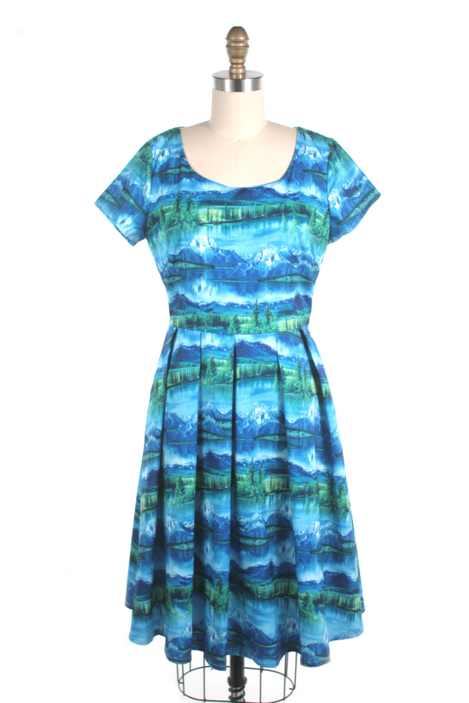 Mountain Print Dress in Blue