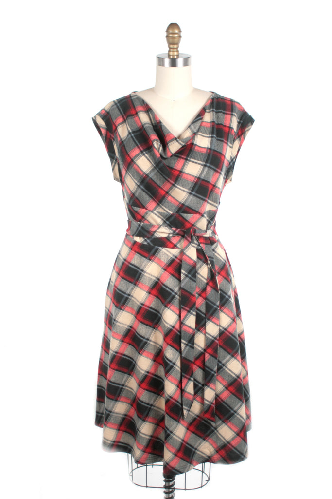 Cowl Neck Plaid Dress in Red - last size S!