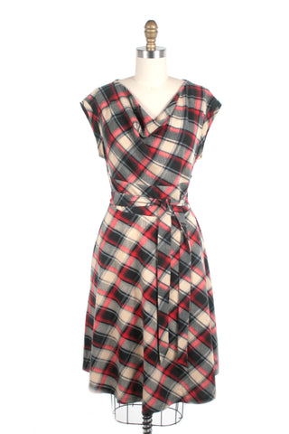 Cowl Neck Plaid Dress in Red