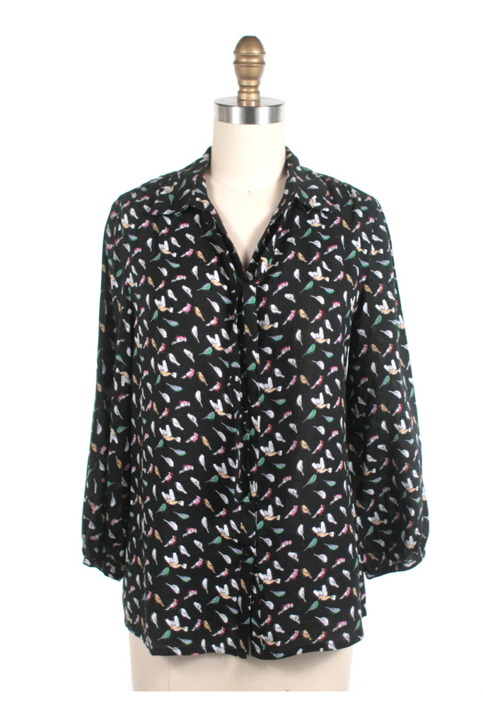 Bird Tie Blouse in Black