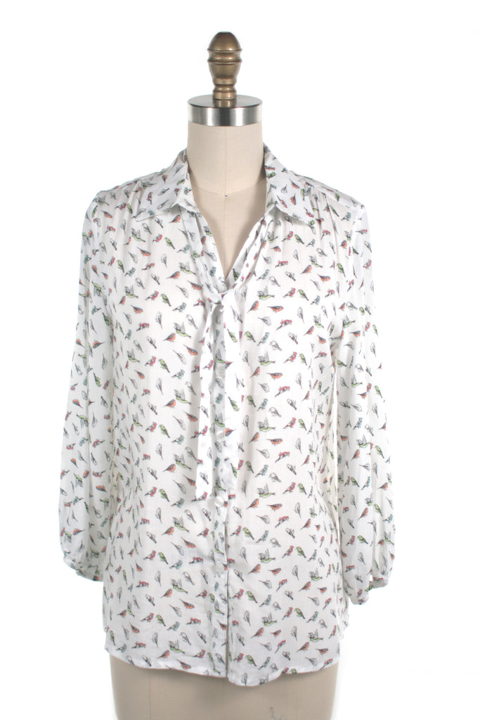 Bird Tie Blouse in White