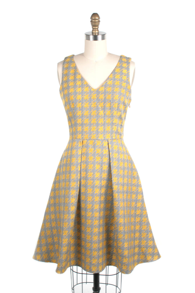 Houndstooth V-neck Dress in Mustard - last size S!