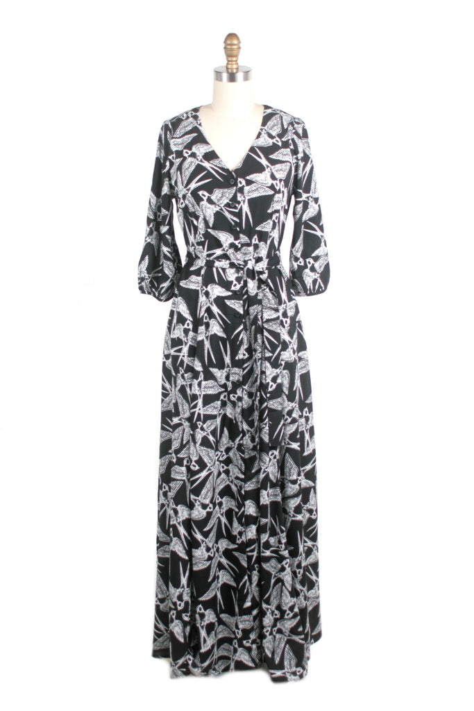 Bird Maxi Dress in Black
