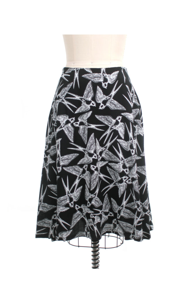 Bird Print Skirt in Black