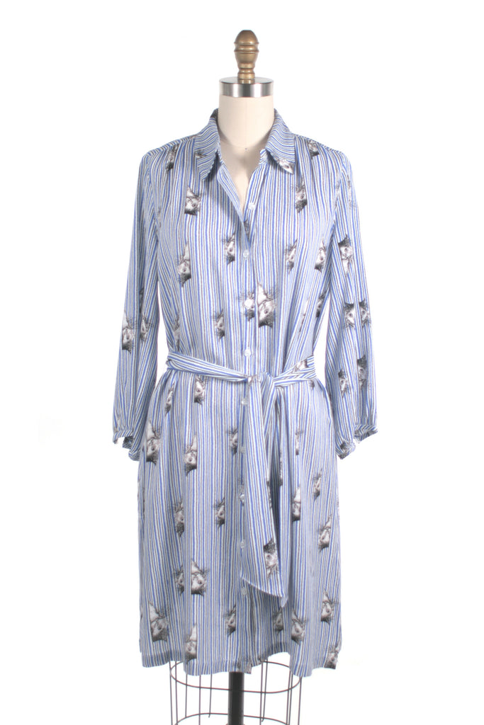 frock shop kitty cat stripe shirtdress blue dress frockshop