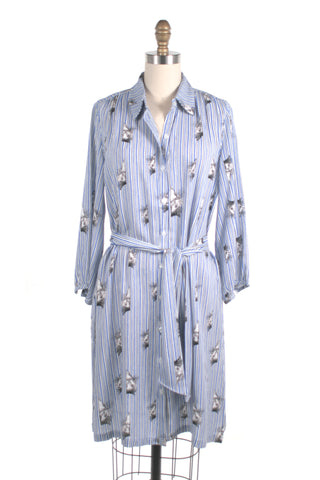 Cat Stripe Shirtdress in Blue