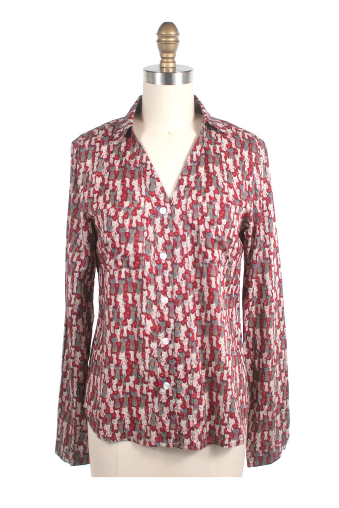 Kitty Cat Blouse in Red - last size S!