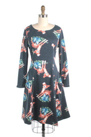 Deer Dress in Blue Multi