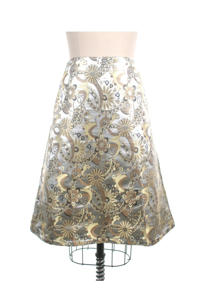 Jacquard A-line Skirt in Silver