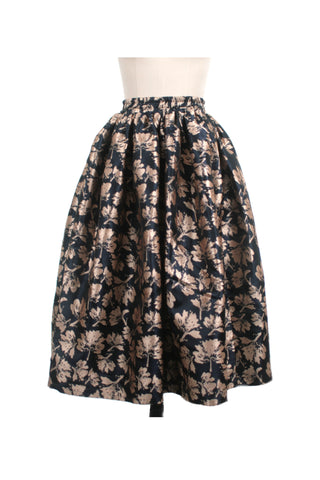 Petal Gathered Jacquard Skirt in Navy/Gold