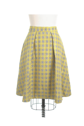 Houndstooth Pleat Skirt in Yellow + plus size