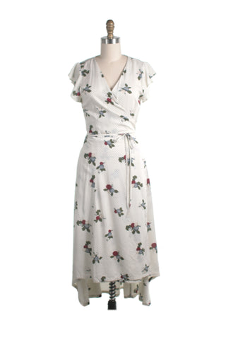 Flower Dot Wrap Dress in Ivory