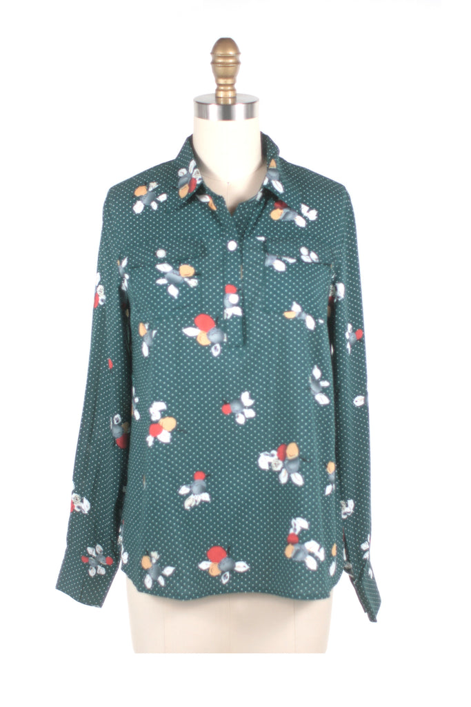 frock shop flower dot teal blouse top frockshop