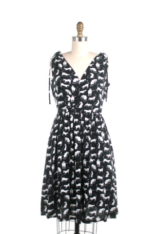 Siamese Cat Tie Dress in Black