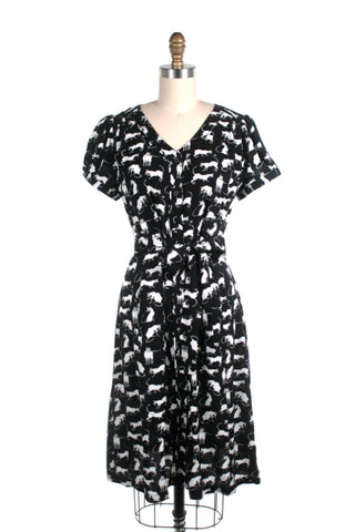 Siamese Cat Shirtdress in Black