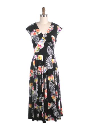 frock shop butterfly black jersey dress frockshop