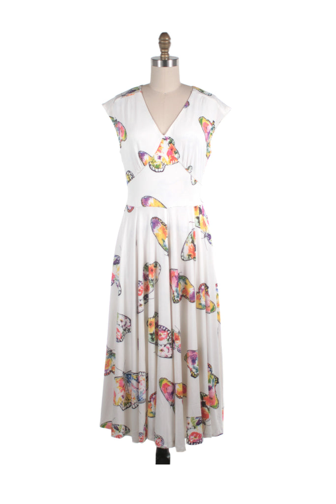 Butterfly Jersey Dress in Ivory