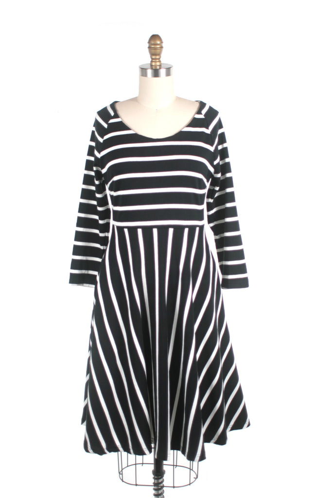 Stripe Jersey Dress in Black/White