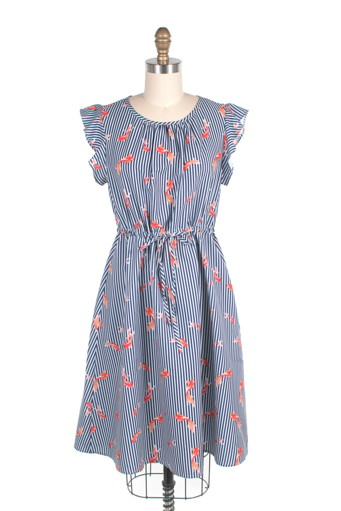 Coy Stripe Dress in Blue