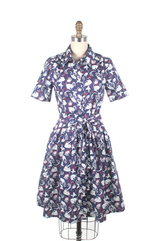 frock shop playful cat kitty shirtdress dress navy frockshop