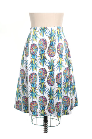 Pineapple Skirt in White Multi