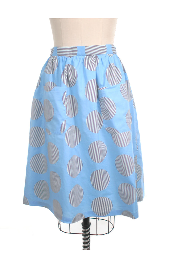 Stripe Dot Skirt in Lt Blue - last size S!