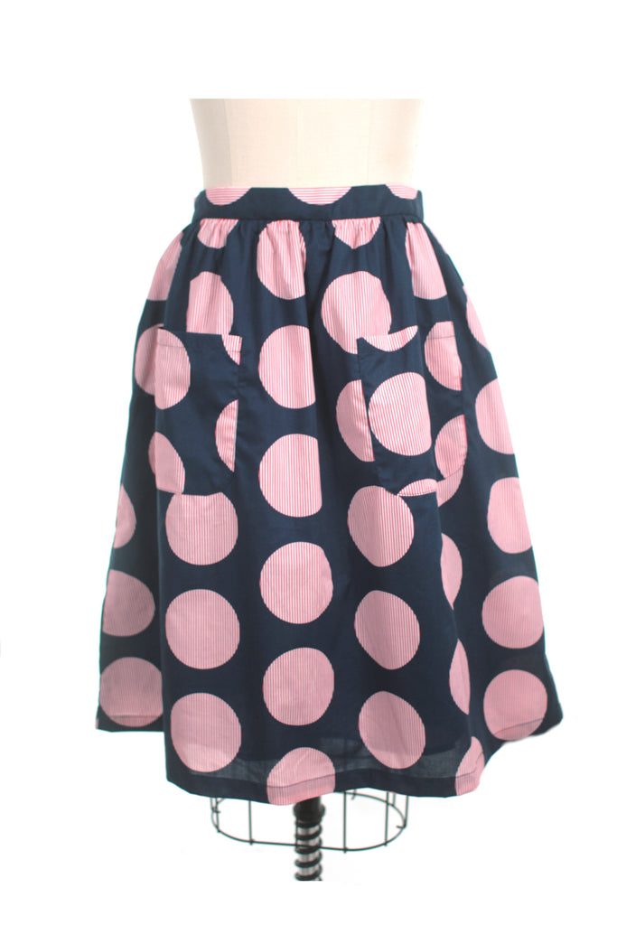Stripe Dot Skirt in Navy - last size S!