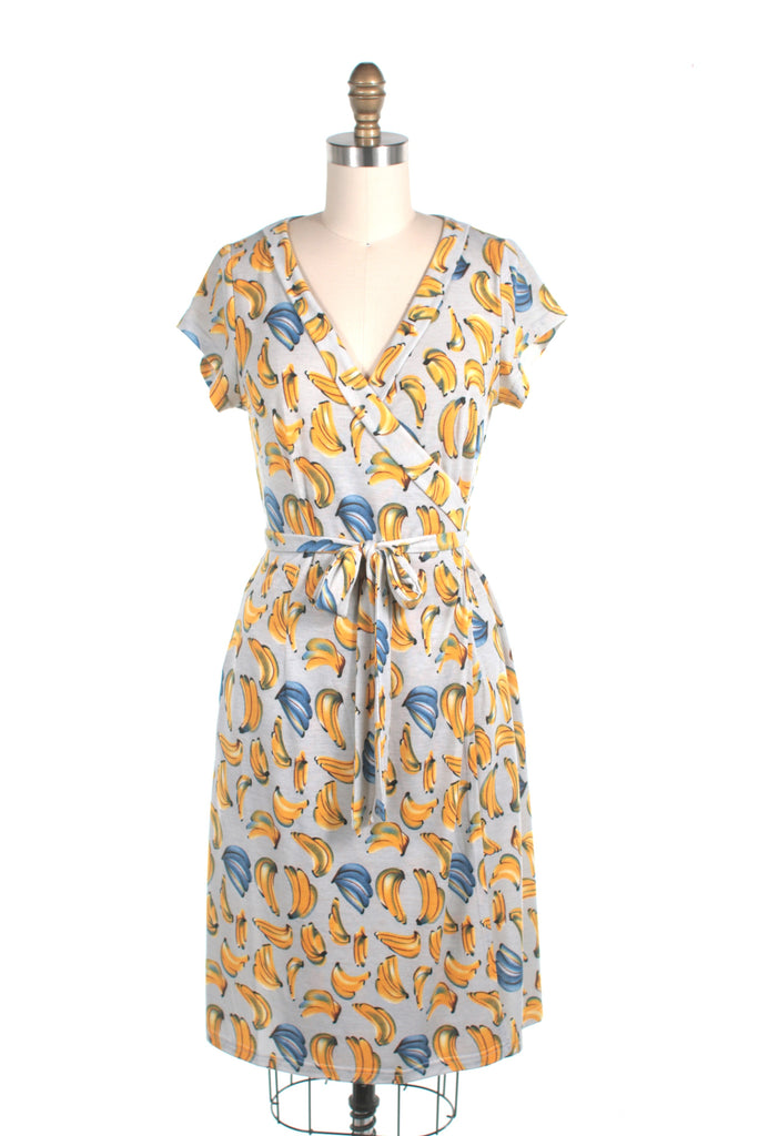 Banana Wrap Jersey Dress in Grey - Last size S!