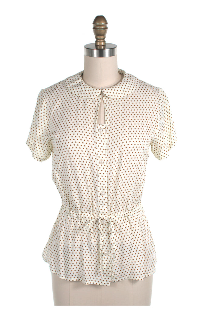 frock shop cream ivory dot blouse top frockshop