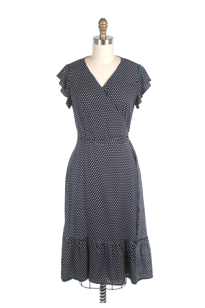 frock shop ruffle wrap dot dress navy frockshop